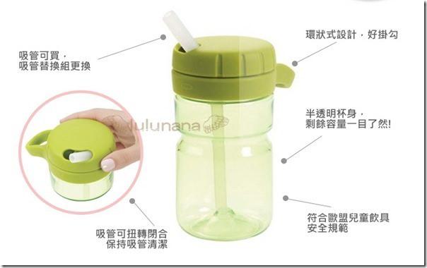 OXO扭蓋吸管水壺-綠_ok
